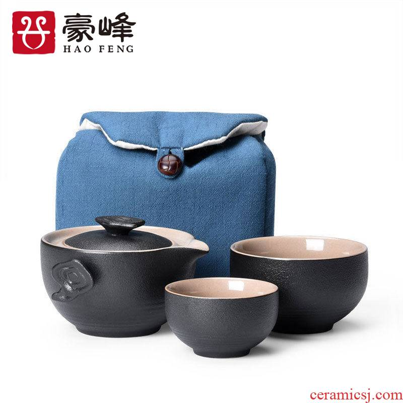 HaoFeng contracted portable is suing travel crack cup a pot of 2 cup office home of kung fu tea teapot teacup