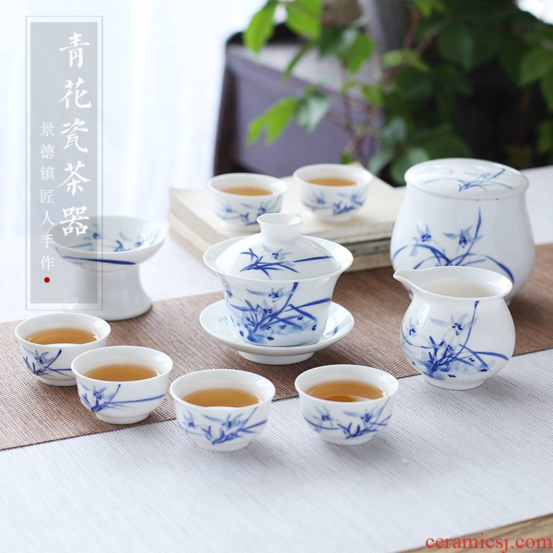 Jingdezhen up the fire which hand - made kung fu tea set of blue and white porcelain household ceramics tureen cups gift boxes
