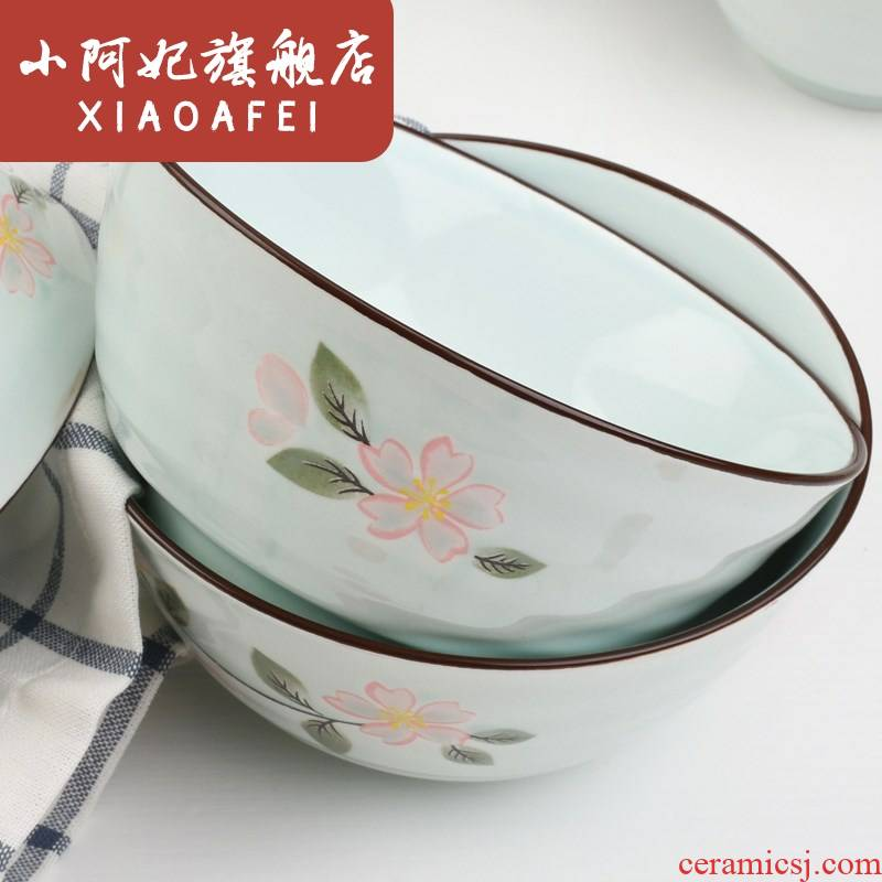 Jingdezhen ceramic dishes home 0 soup plate combination the 5 inch suit to use Japanese soup bowl rainbow such as bowl meal.