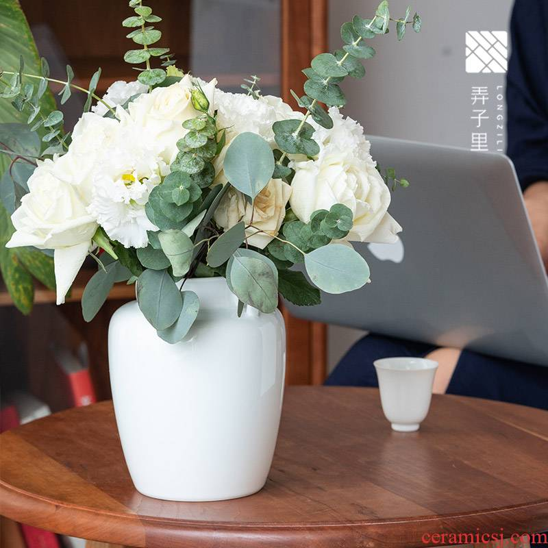 Lane. Home furnishing articles bluish white porcelain ceramic vase ears flower pot of flower tea daily table flower