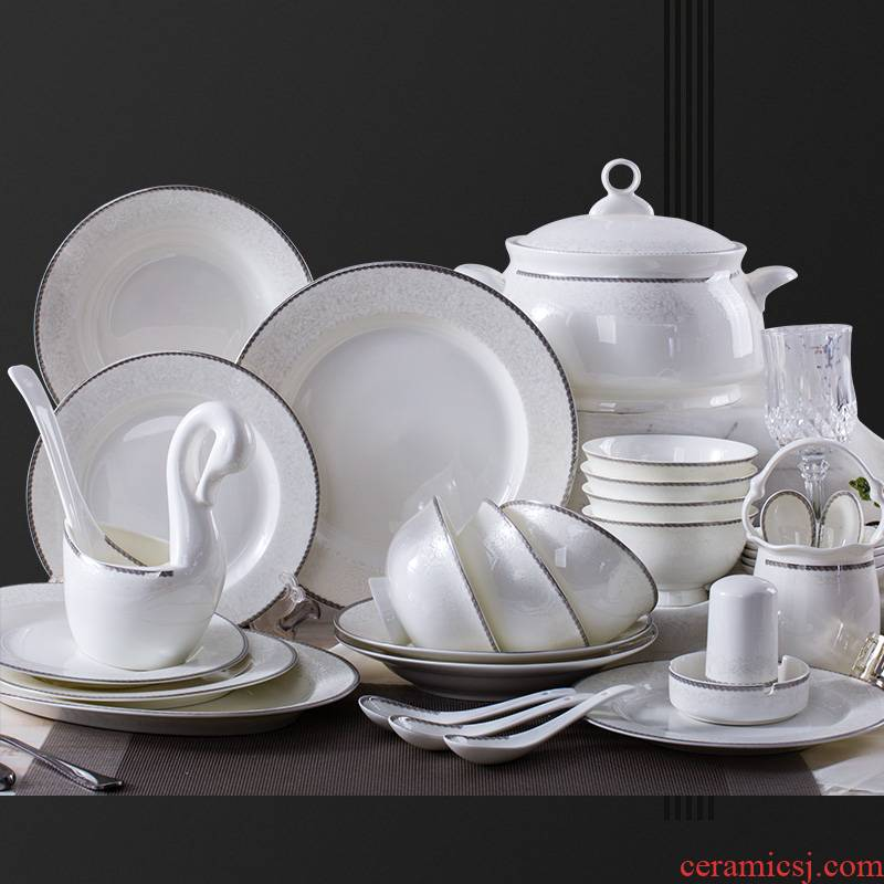 Jingdezhen household ipads porcelain tableware tableware suit to use dishes suit household European dishes chopsticks suit combination