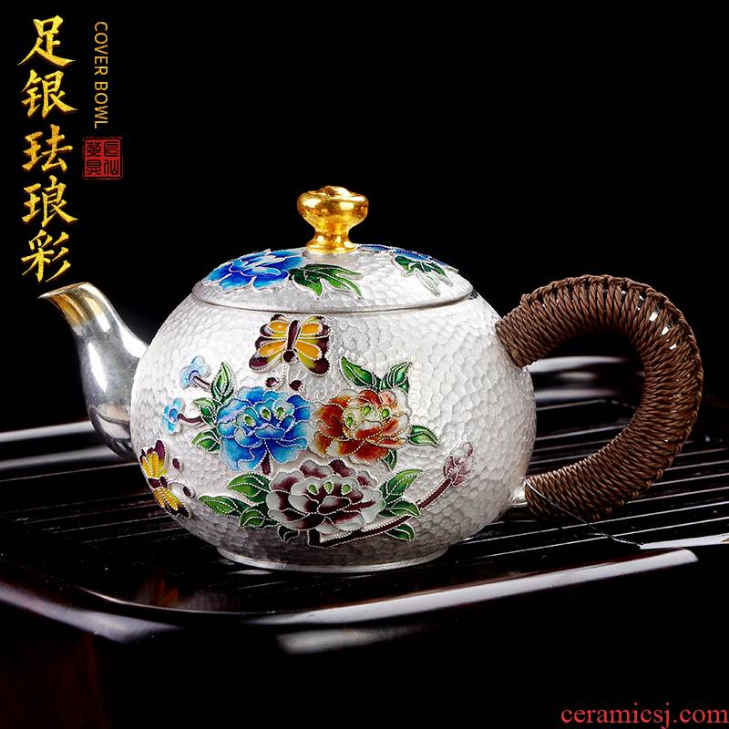 Japanese artisan fairy 999 sterling silver teapot of pure manual fine silver pot of filtering kung fu tea pot teapot household