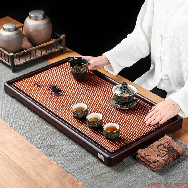 The whole piece of tablet weight bamboo tea tray rectangle household contracted drainage solid wood tea table tray was dry mercifully dish of trumpets