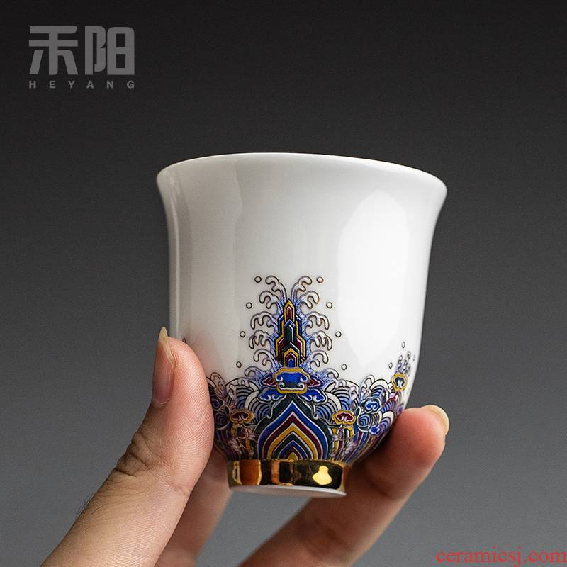 Send Yang gold colored enamel cup of the big sample tea cup single cup white porcelain ceramic kung fu masters cup cup high - end tea sets