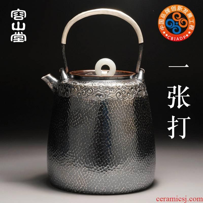 Vatican RongYin hammer is silver pot of a dozen mu wen teapot burn boiled large single pot of iron silvering the teapot