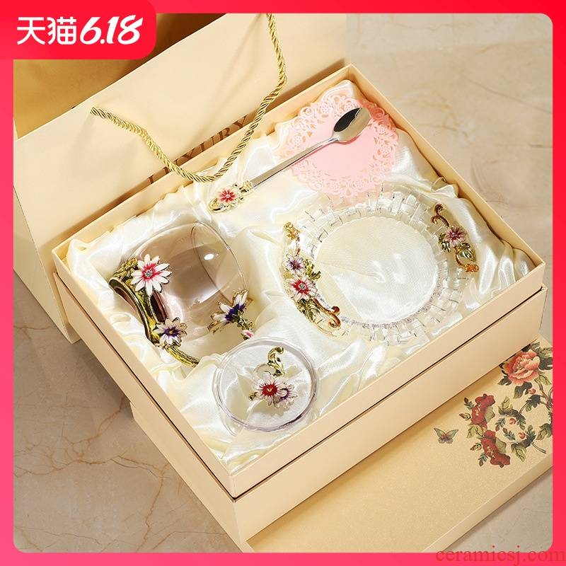 Guest comfortable colored enamel water resistant glass suit glass coffee cup tea cups with cover girl