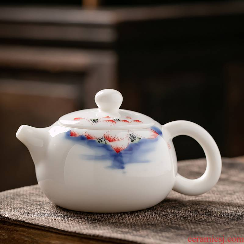 Fujian and suet jade porcelain teapot household ceramic tea single pot of Japanese office personal beauty pot of kung fu tea set