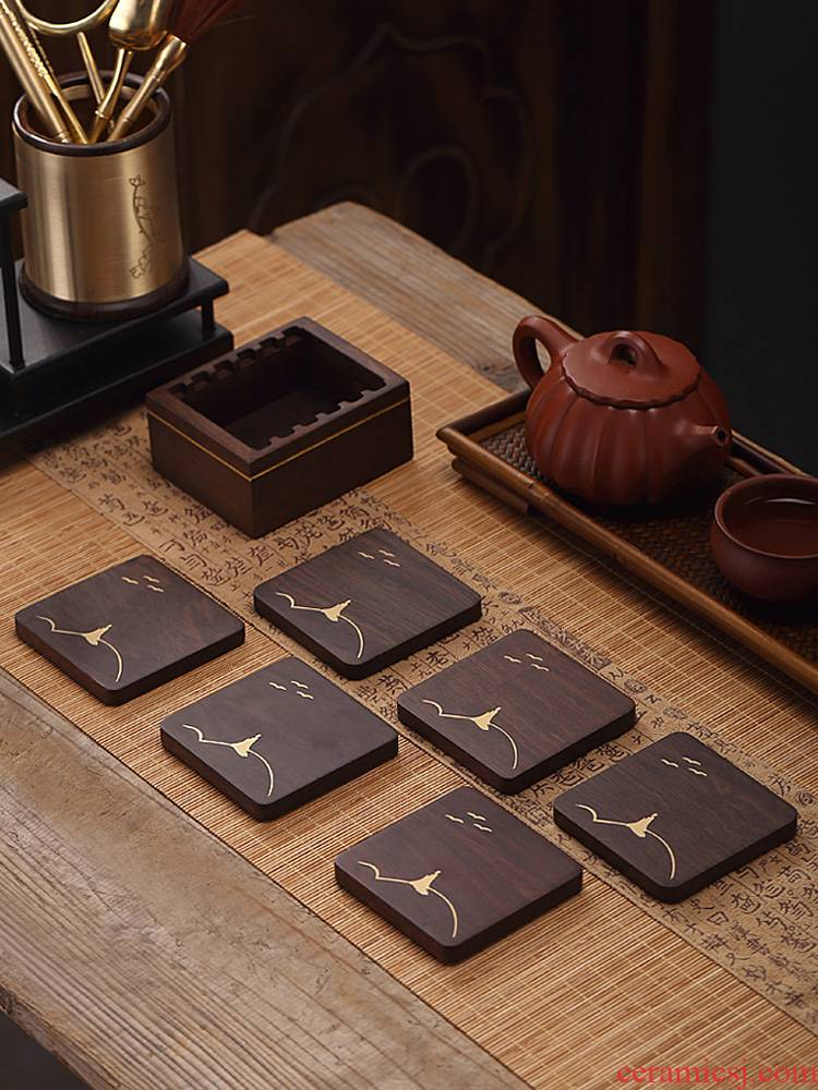 Morning high ebony cup holder with Japanese zen tea set creative accessories copper kung fu tea cup pad plate 6 tablets