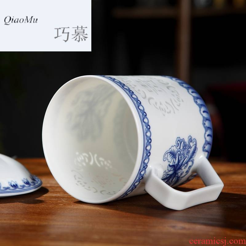 Qiao mu blue - and - white exquisite household cup jingdezhen ceramic cup with cover the personal creative cup will hollow out the office