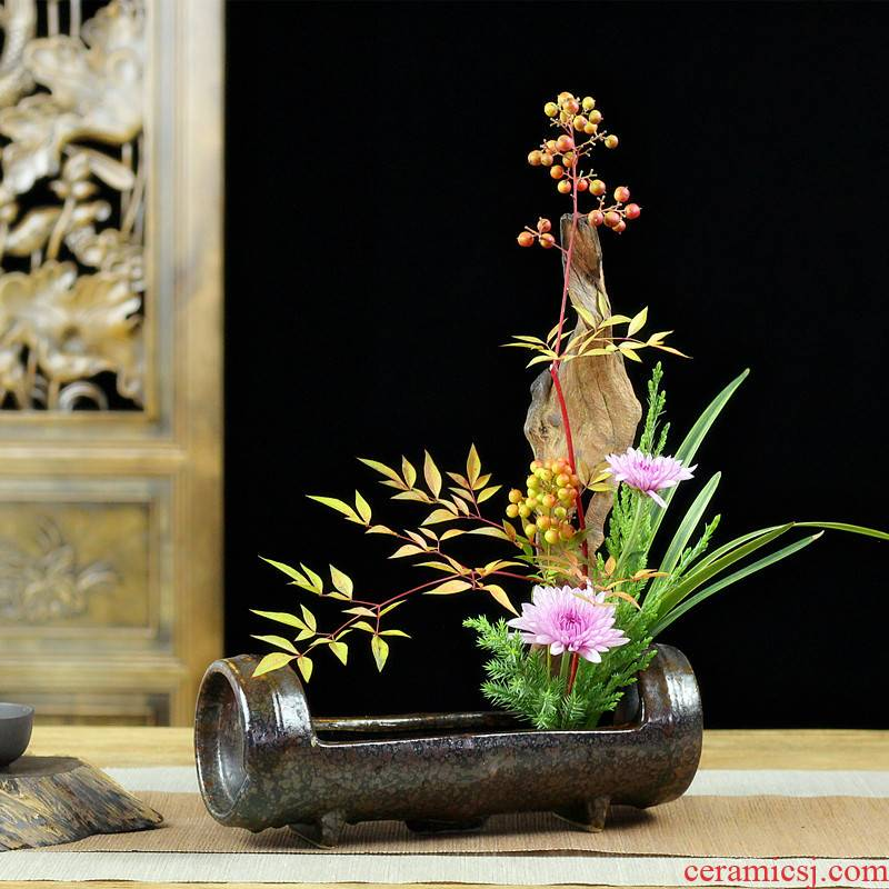 Jian mountain basin of flower arranging device imitation carnation section ceramic creative flower Oriental Chinese style flowers decorated tea table to restore ancient ways furnishing articles