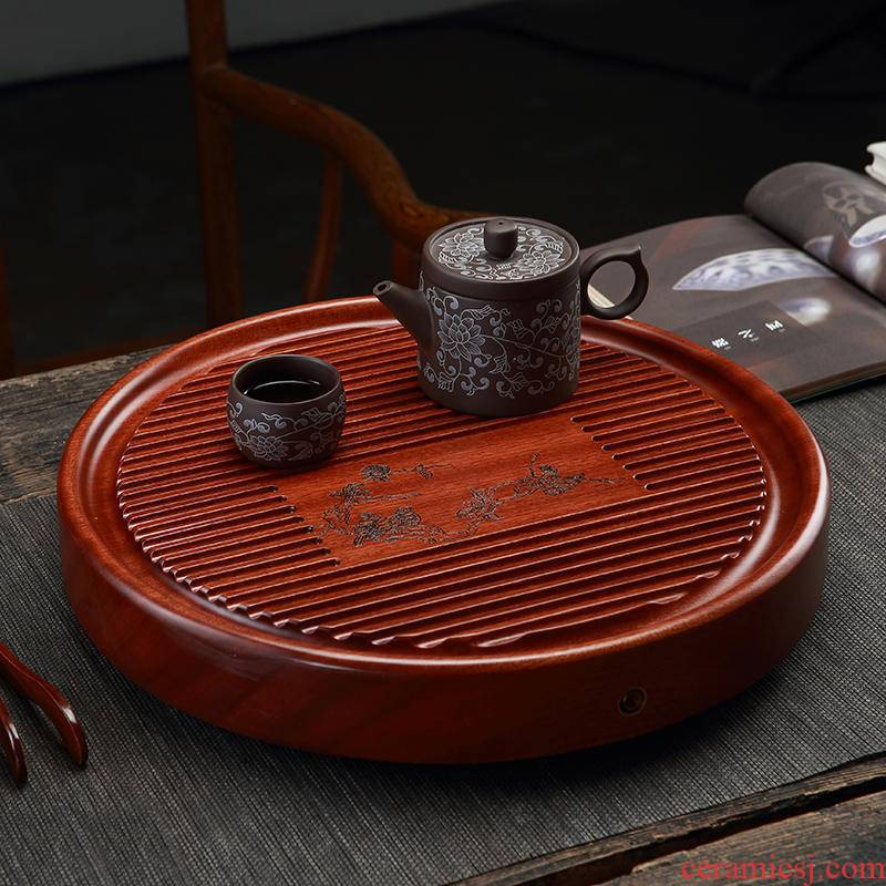 Morning high circular tea tray was solid wood tea tray was kung fu tea tea home spend pear bakelite com.lowagie.text.paragraph contracted logs drainage type
