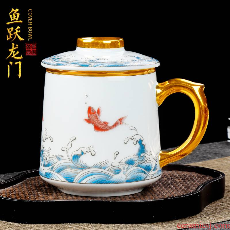 Artisan fairy white porcelain office cup ceramic tea cup with cover filtration separation of tea cup creative glass mugs
