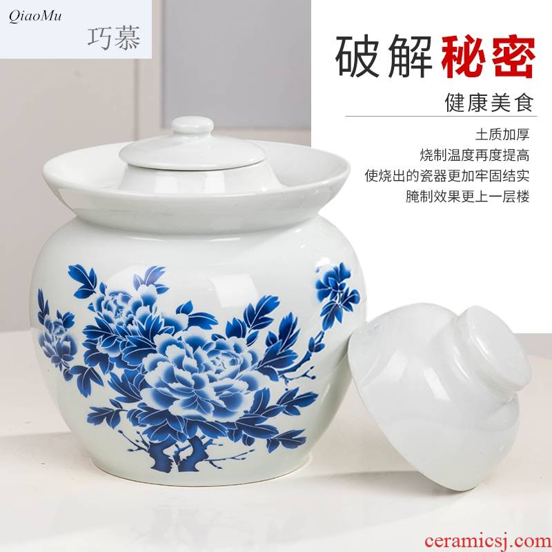 Qiao mu home of jingdezhen blue and white porcelain kimchi jar thickening seal pot in sichuan pickle sauerkraut small pickles