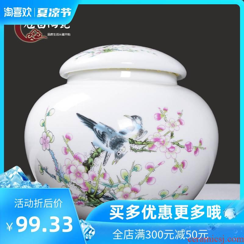 Back economic prosperous large caddy fixings of jingdezhen blue and white caddy fixings high white porcelain body round storage sealed jar jar