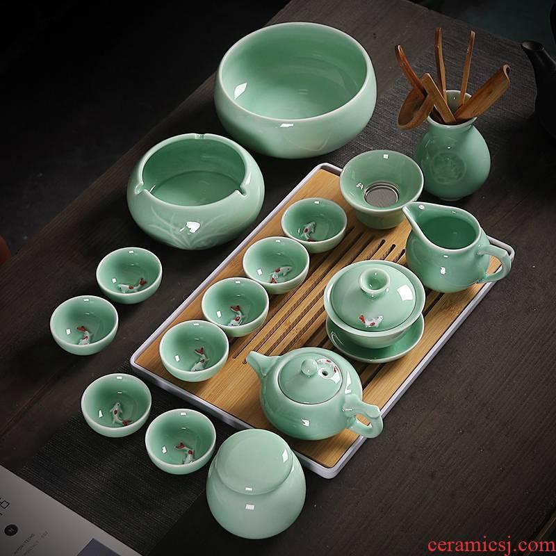 Celadon kung fu tea set home office ceramic carp tureen tea to wash the teapot tea tray cups of a complete set of combination
