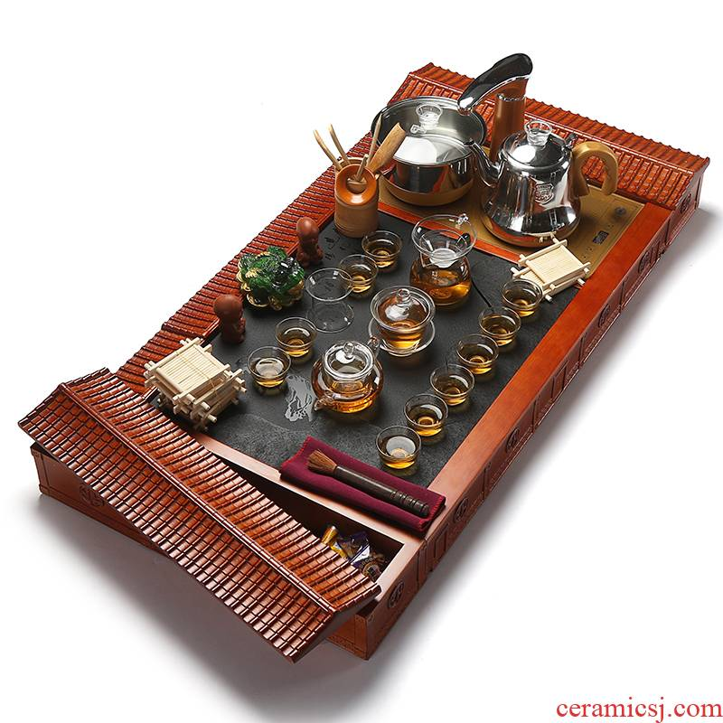 Really sheng hua limu tea tray was solid wood blocks sharply stone tea tray tea tea sea induction cooker automatic tea set