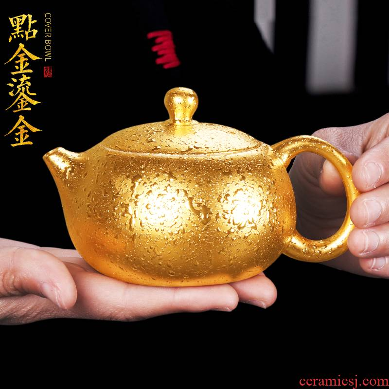 Artisan fairy gold dehua white porcelain ceramic teapot single pot home gift manual creative kung fu tea tea