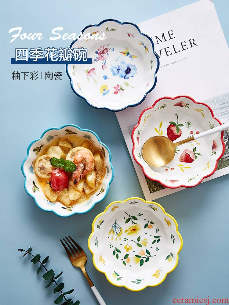 Japanese ceramics tableware, lovely fruit salad bowl ins bowl of creative web celebrity rainbow such as bowl seasons jobs household individuality