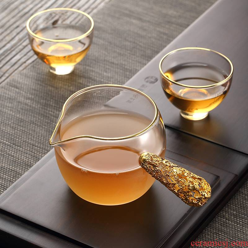 Morning high lateral fair the glass tea cup tea sea points cloud heat - resistant glass tea set creative Japanese household cup