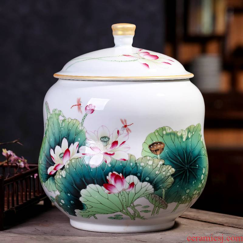 Jingdezhen ceramic pot of tea caddy fixings big yards seal pot large household storage tank puer tea cake storage tanks
