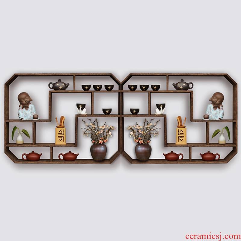Tea shelf hanging wall shelf rich ancient frame wall cup teapot Tea accessories receive a shelf