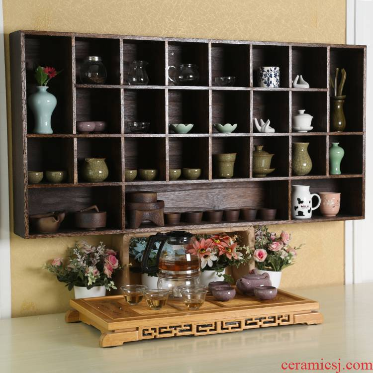 Real wood the stupa pavilion cup tea shelf rack restoring ancient ways to receive ark, teapot small antique tea accessories tea pet