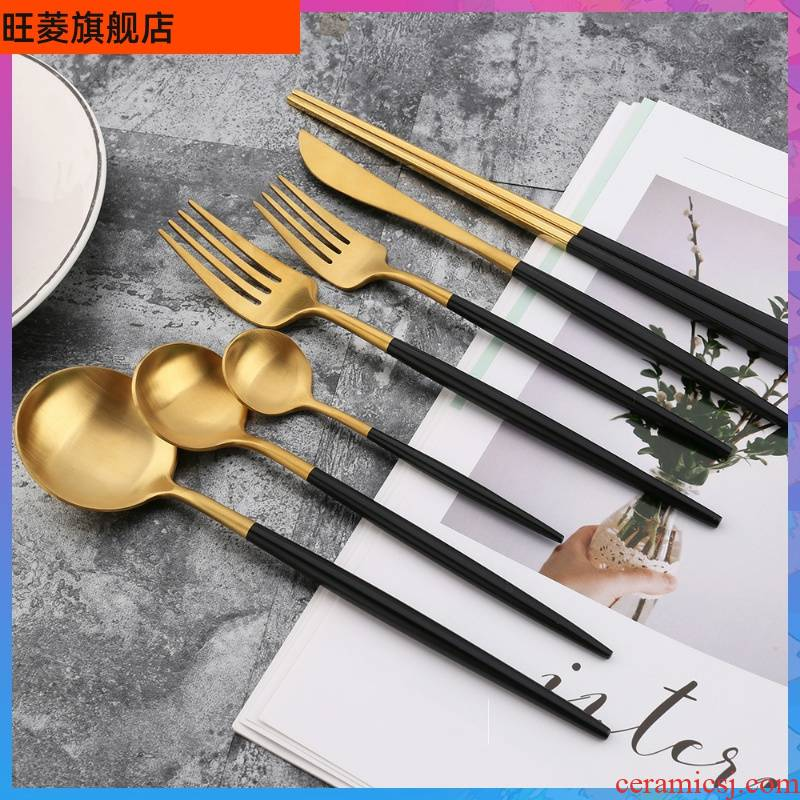 Steak knife and fork spoon, three - piece western - style food tableware, podcast, 304 stainless steel dessert dinner knife and fork spoon coffee spoon.