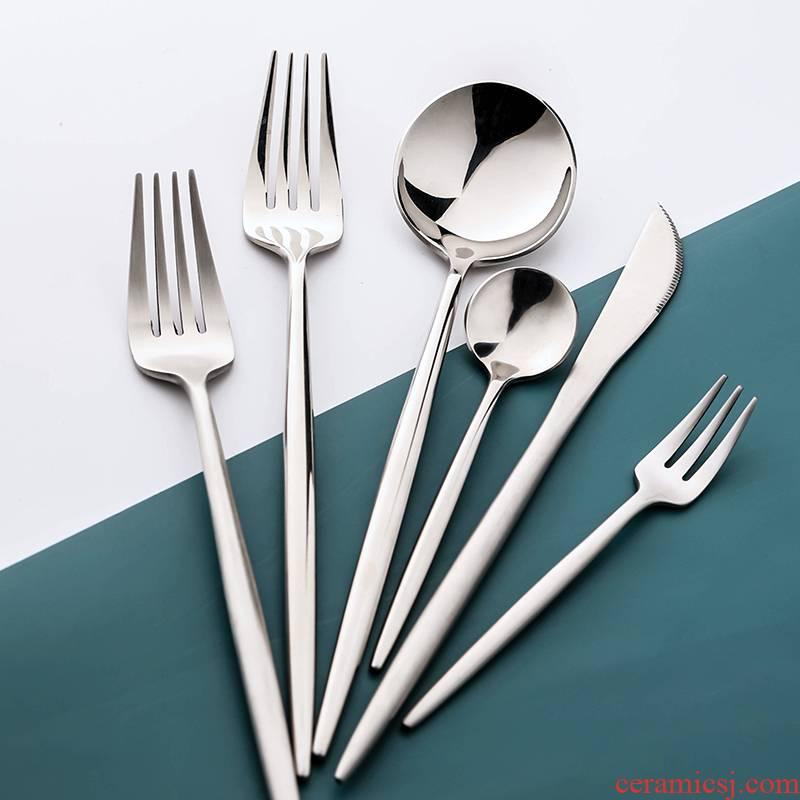 WUXIN stainless steel cutlery set beefsteak knife and fork three - piece household ins a full set of Nordic network red tableware
