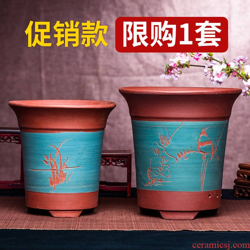 Purple sand flowerpot orchid basin large caliber Chinese rose clivia ceramic plant classical coarse pottery small green plant bonsai POTS