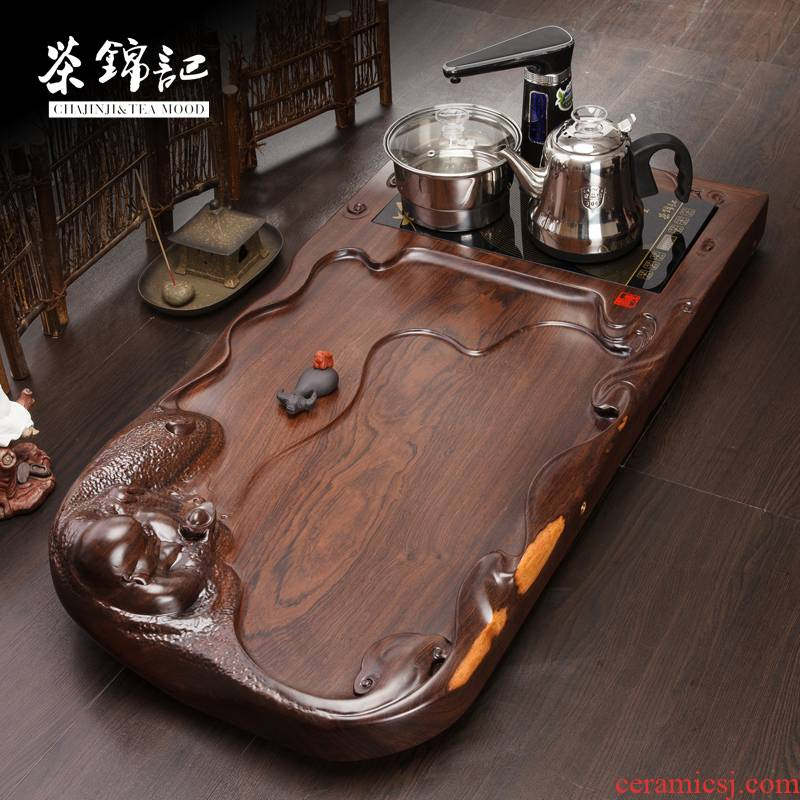 Shu of ebony wood home ground tea set induction cooker automatic water log tea table
