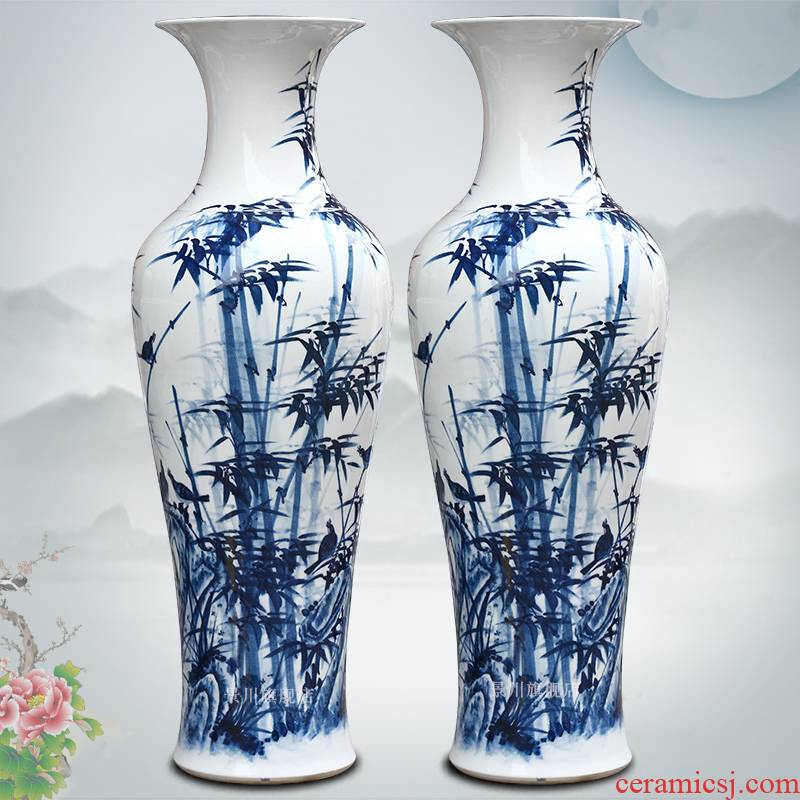Hand made blue and white bamboo vase bamboo report peaceful big sitting room of Chinese style household porcelain of jingdezhen ceramics furnishing articles