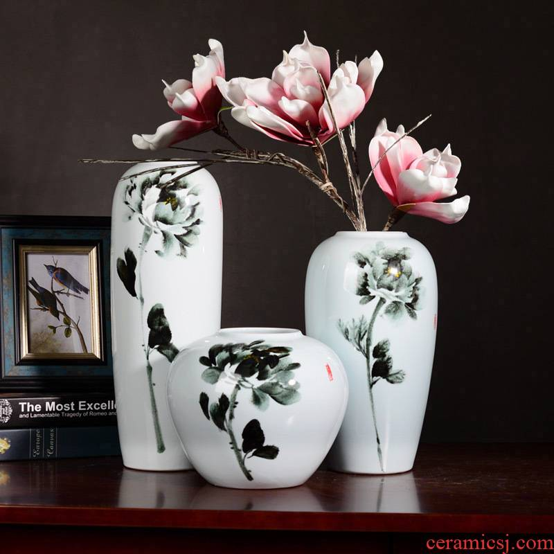 Contracted and I literary lucky bamboo peony flower arranging dried flowers of jingdezhen ceramic vase living room table landing place