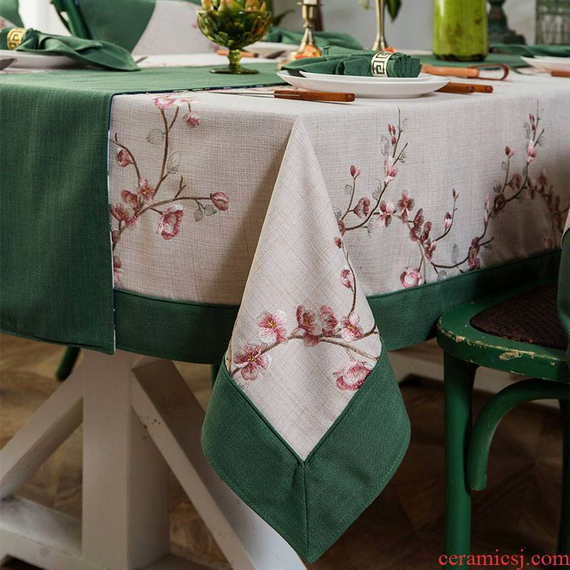 American tablecloth emperor embroidered square values of new Chinese style embroidery cotton and linen small pure and fresh and sitting room rectangular table cloth art in Australia