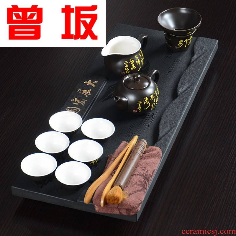 Once sitting on the whole piece of stone tea tray was sharply violet arenaceous kung fu tea set household business gift set one