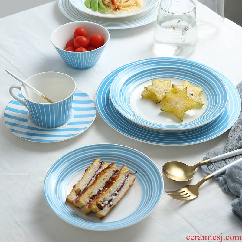 Scandinavian simple dishes suit household new ceramic tableware suit to eat bread and butter dish dish dish deep dish blues