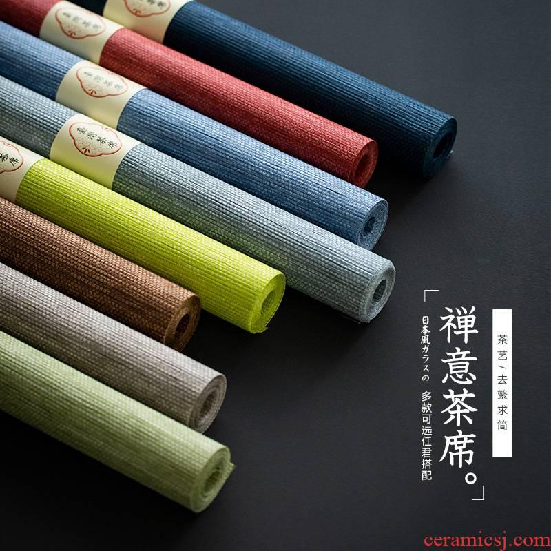 Japanese tea fiber mat waterproof table flag tea zen tea table cloth household tea table mat kung fu tea accessories