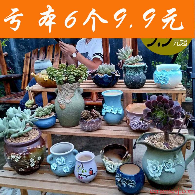 Fleshy flowerpot ceramic package mail special offer a clearance of creative move plant coarse pottery indoor flower pot in restoring ancient ways of large diameter