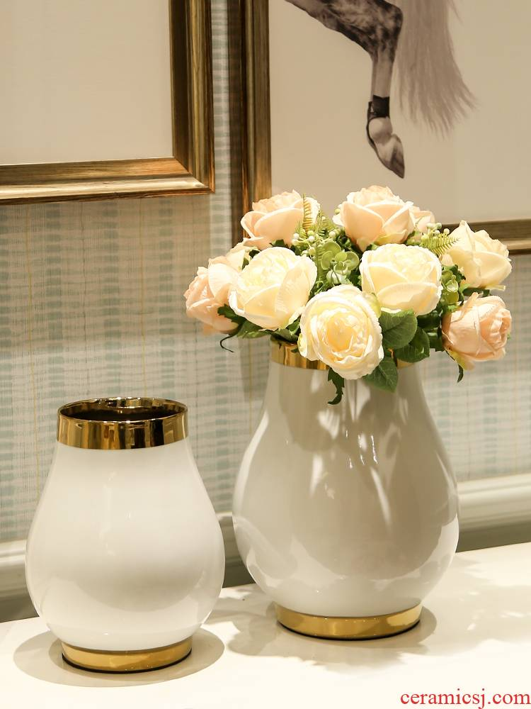 Household example room ceramic vases, flower art suit light key-2 luxury furnishing articles wind sitting room porch Taiwan crispy noodles machine table decoration