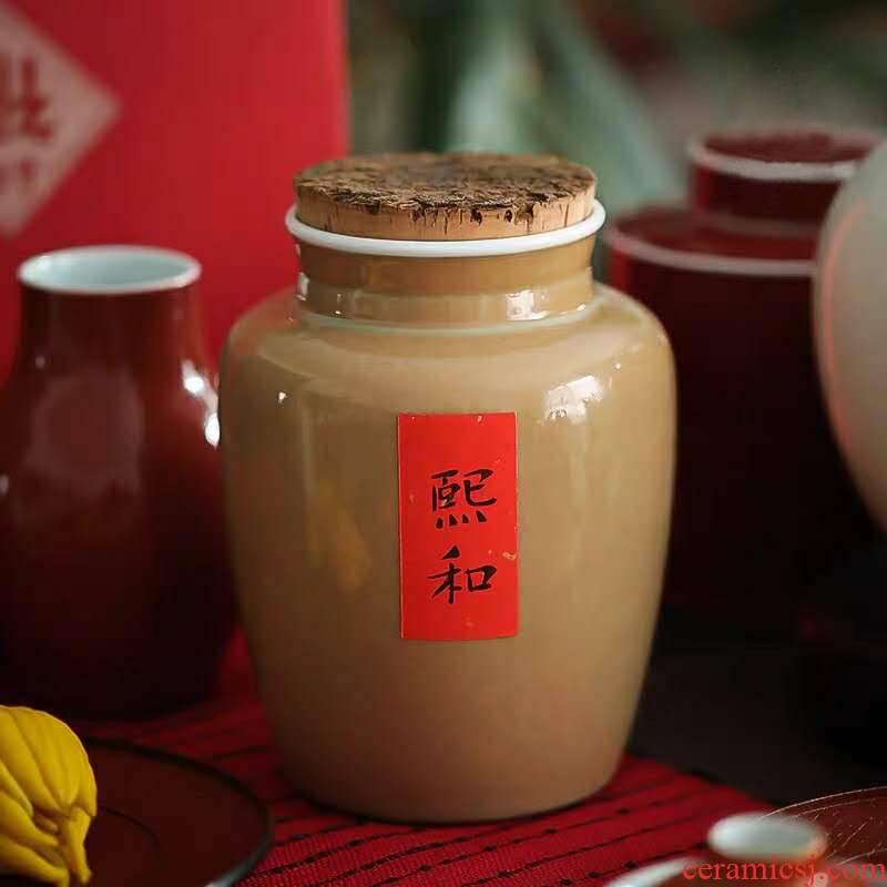 Made in jingdezhen turmeric creative retro large - sized ceramic tea pot lawsuits sealed store tea storage jar