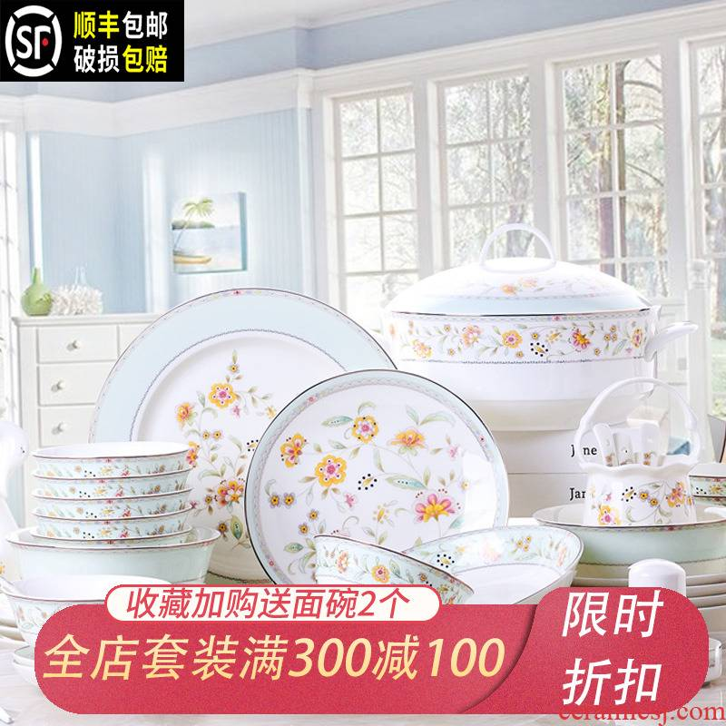 The dishes suit Chinese style household jingdezhen European - style ipads porcelain tableware ceramics dishes chopsticks dish of fresh and creative gifts