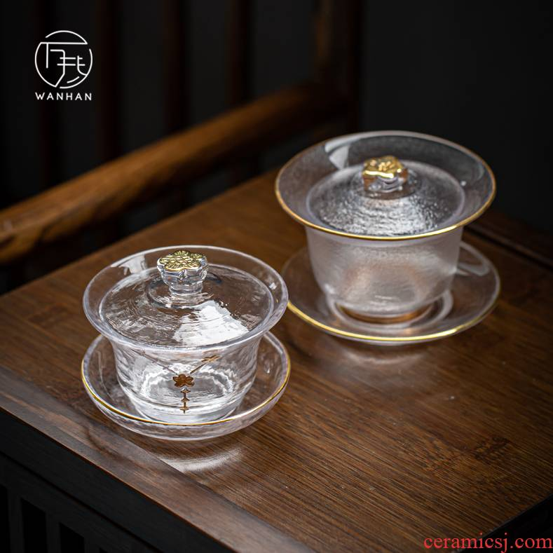 Three only a single tea tureen bronzing heat - resistant glass bowl of the see colour of household crystal tea machine hand grasp hammer tureen