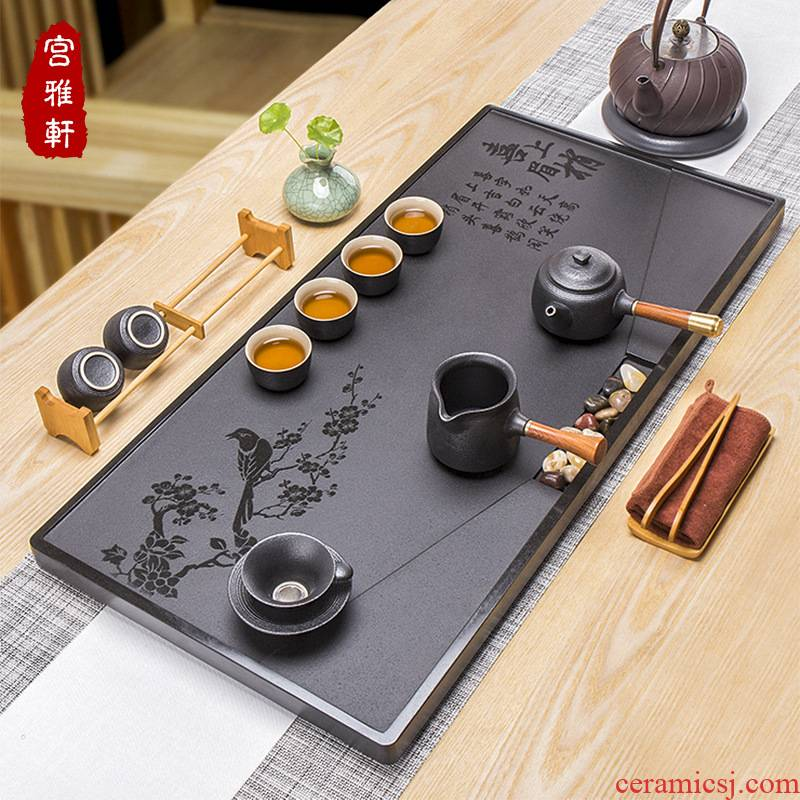 Four - walled yard manufacturer provides straightly sharply stone tea tray was kung fu tea set the whole piece of handwork stone tea tray was large tea tray
