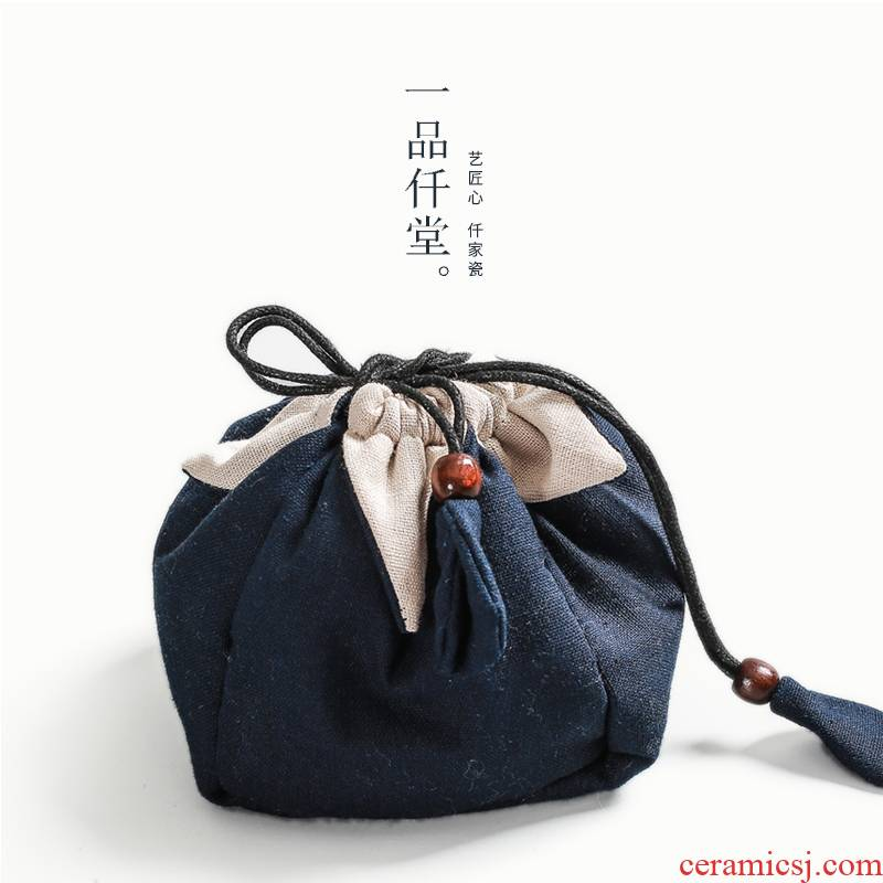Yipin thousand hall the sack of tow tea portable receive a sheet and a pot of a crack cup travel bag