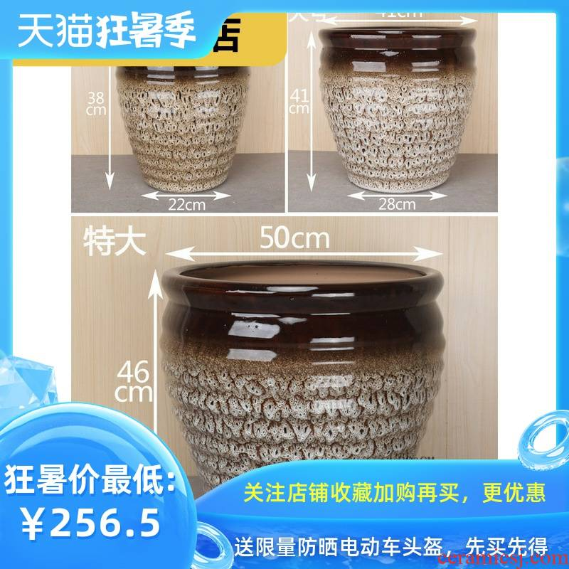 Rich ground clearance ceramic creative plant trees, flowers, cylinder large round of large diameter classical tray was big flower pot