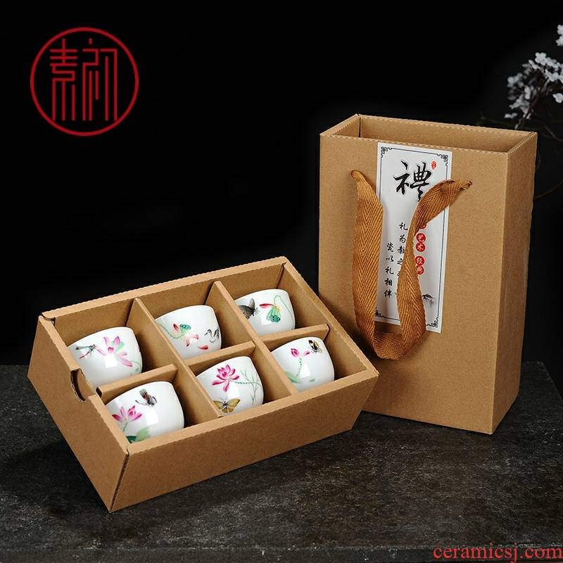 Element at the beginning of the high white porcelain cups kung fu tea tea set ultimately responds pu - erh tea gift box single red cup six activities