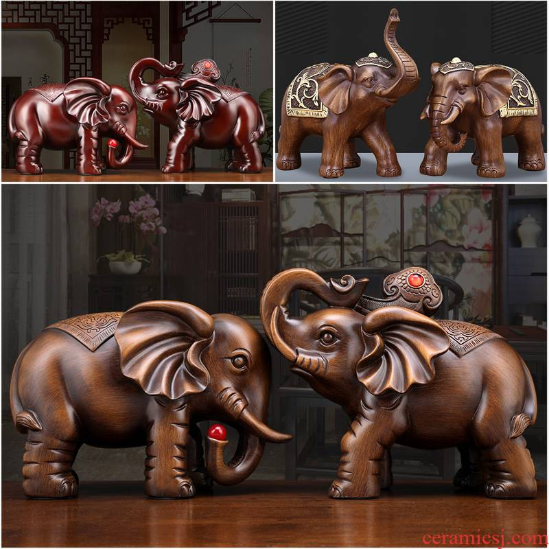 Resin elephant furnishing articles a lucky town curtilage sitting room and teahouse rich ancient frame wine trinkets, new Chinese style decoration