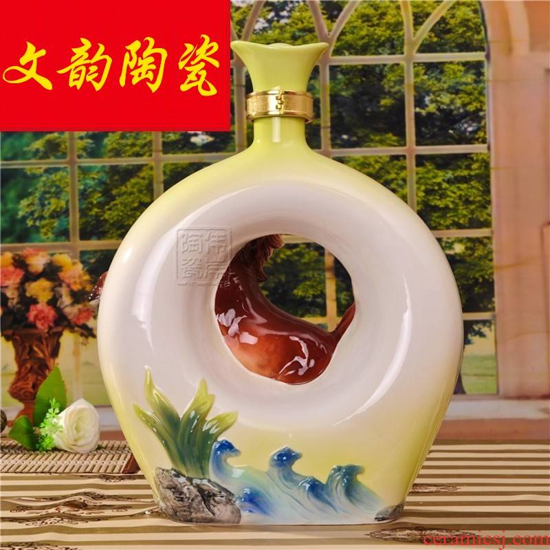 To the night of the flange porcelain ceramic art bottle 1/3/5/10 jins zodiac horses high - grade decoration hip flask