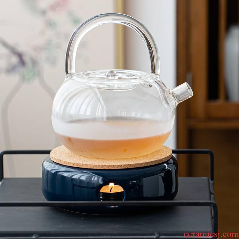 Based a warm tea exchanger with the ceramics boiled tea stove fruit tea tea set insulation glass teapot teacup Japanese heating base