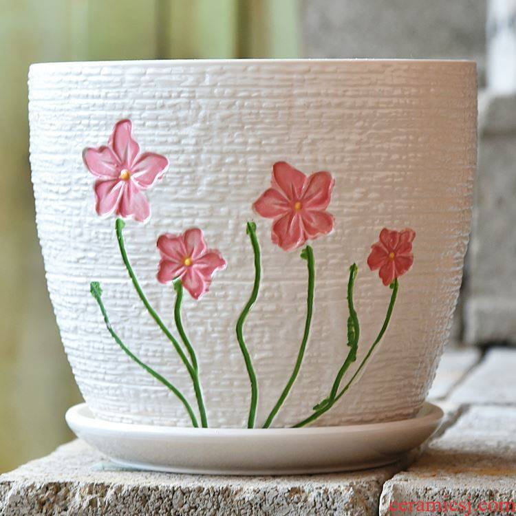 Ceramic pot special large oversized other household contracted plastic small fleshy flower POTS with tray