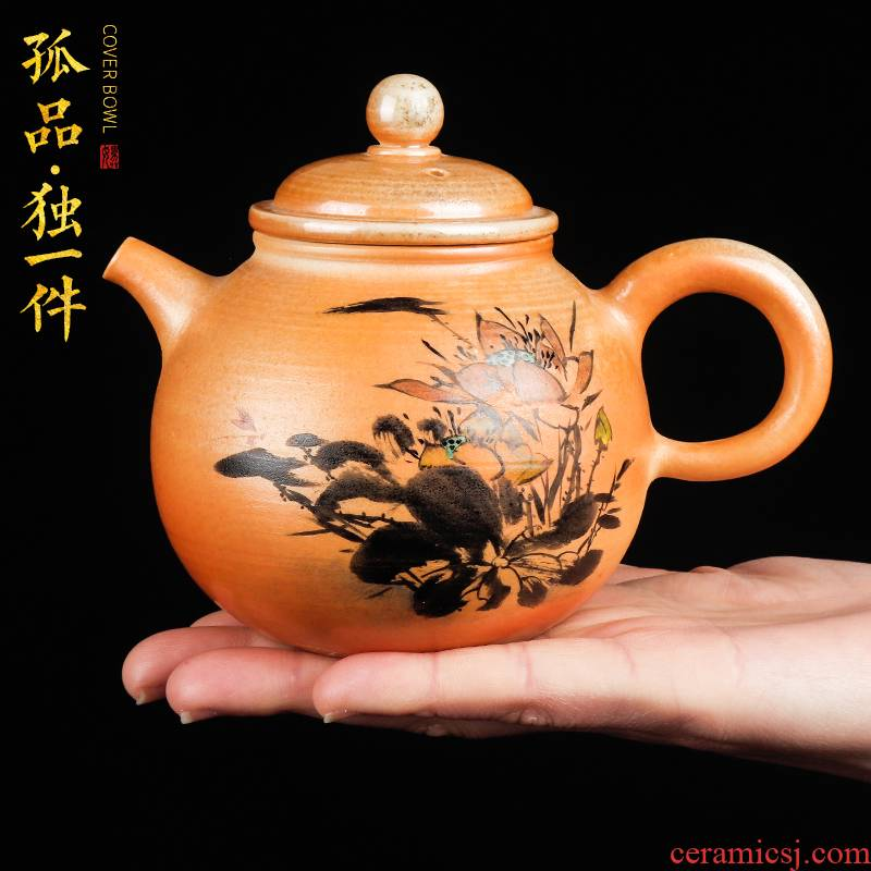 Artisan fairy orphan works hand to chai up hand - made ceramic teapot household kung fu tea set ink teapot single pot